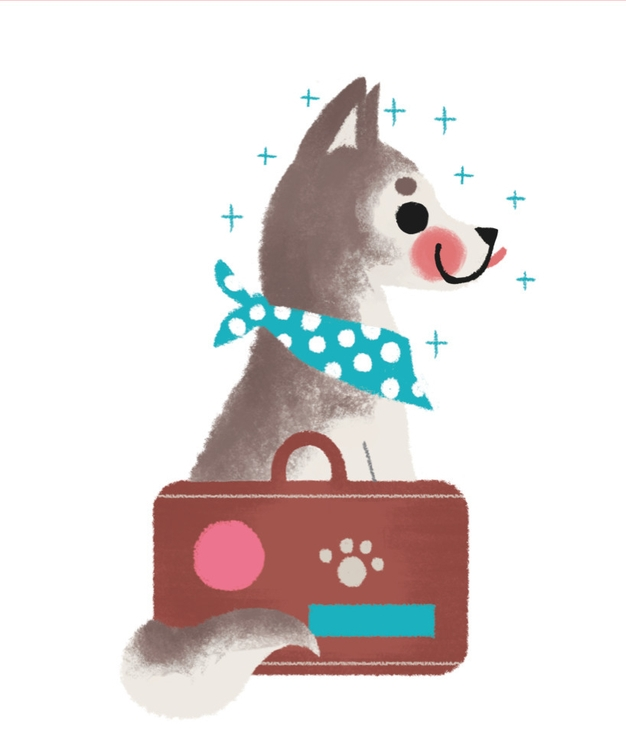 illustration, dog, travel, happy - mabelalarcon | ello