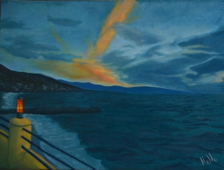 Atardecer azul - painting, oilpainting - monicamorales | ello