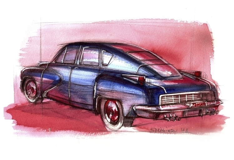 Tucker Torpedo - watercolor, painting - petrolhead1992 | ello