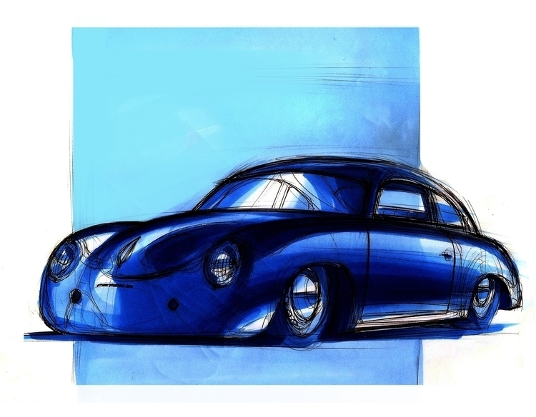 Porsche 356 - markers, sketch, porsche - petrolhead1992 | ello