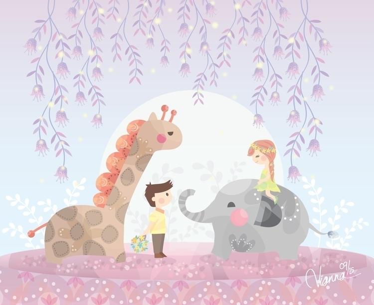 Date - illustration, children, giraffe - viannavalentina | ello