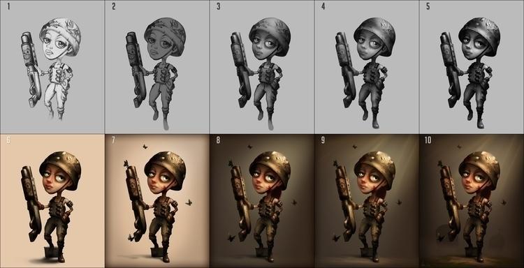 Girl standing - Progress - illustration - kufa | ello