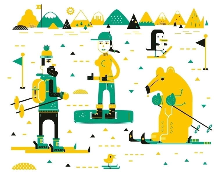 ski - animals, vector, jamie, illustration - schnuppe | ello
