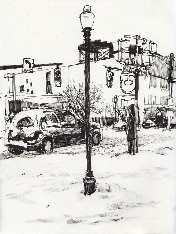 snowy day 2015 - drawing, sketchbook - ononlao | ello