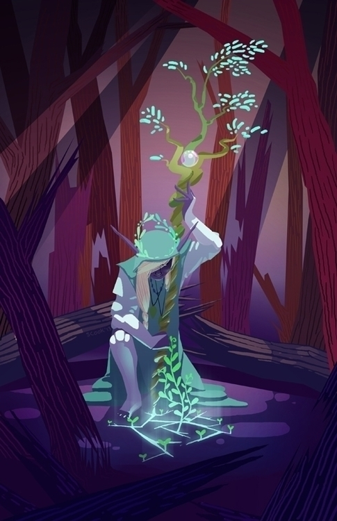 elf-themed pieces zine - drow, illustration - scookart | ello