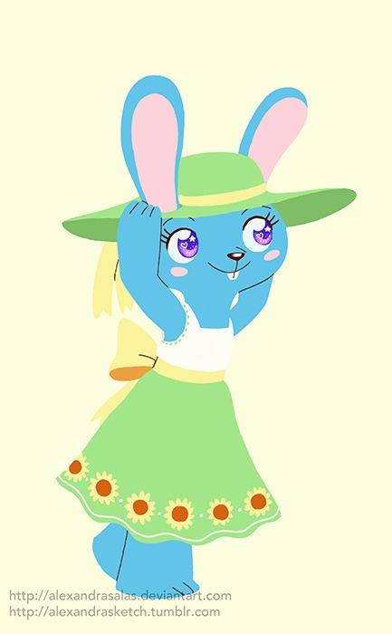 Sunflower dress - illustration, bunny - alexandrasketch | ello