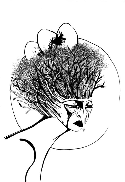 Sketch free topic - Woman-bird - marinkalabutinka | ello
