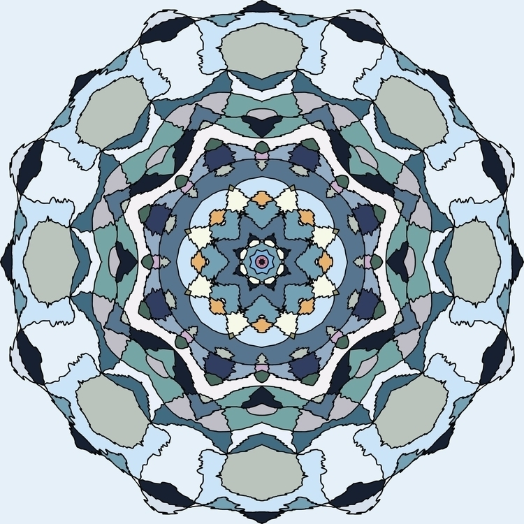 Blue geometric flower - mandala - gretaberlin | ello