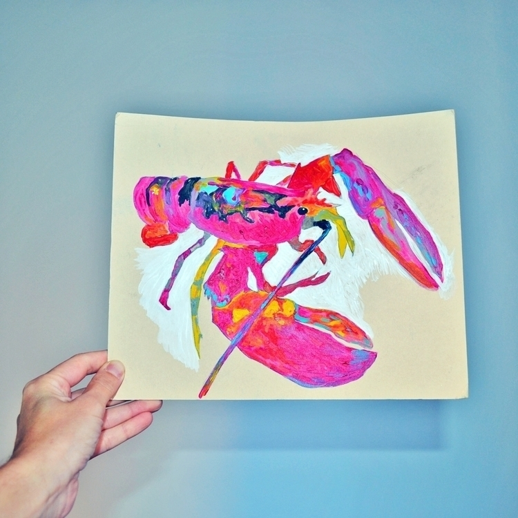 illustration, painting, lobster - theotherhalfofthesky | ello