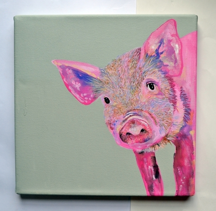 pig, pink, painting, animal - theotherhalfofthesky | ello