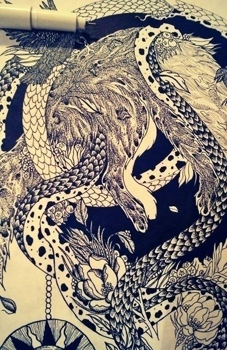apokalipsis wip - fox, snake, skull - shapefromhell | ello