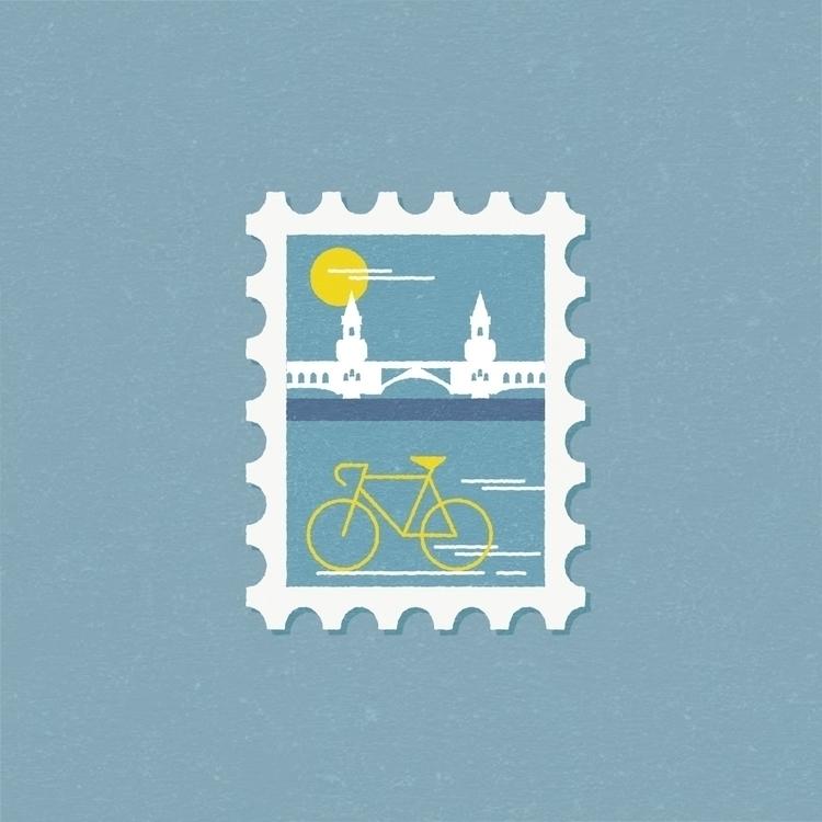 Ride bike Berlin - stamp, postcard - gloriaciceri | ello