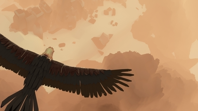 bearded vulture flight - illustration - annaschillings | ello