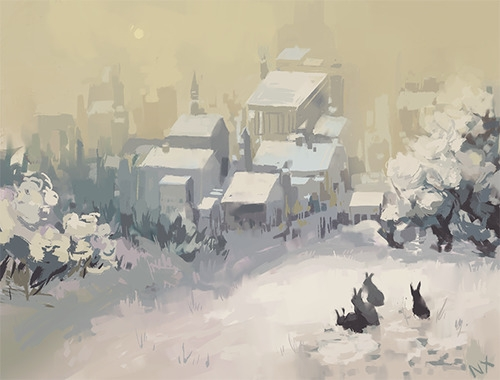 Winter rabbits~ - illustration, snow - nicolexu-8498 | ello