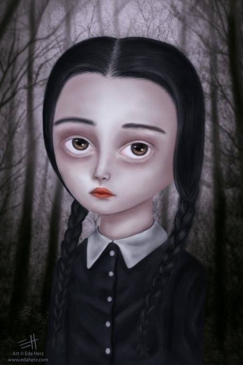 Wednesday Addams (2014 - illustration - edaherz | ello