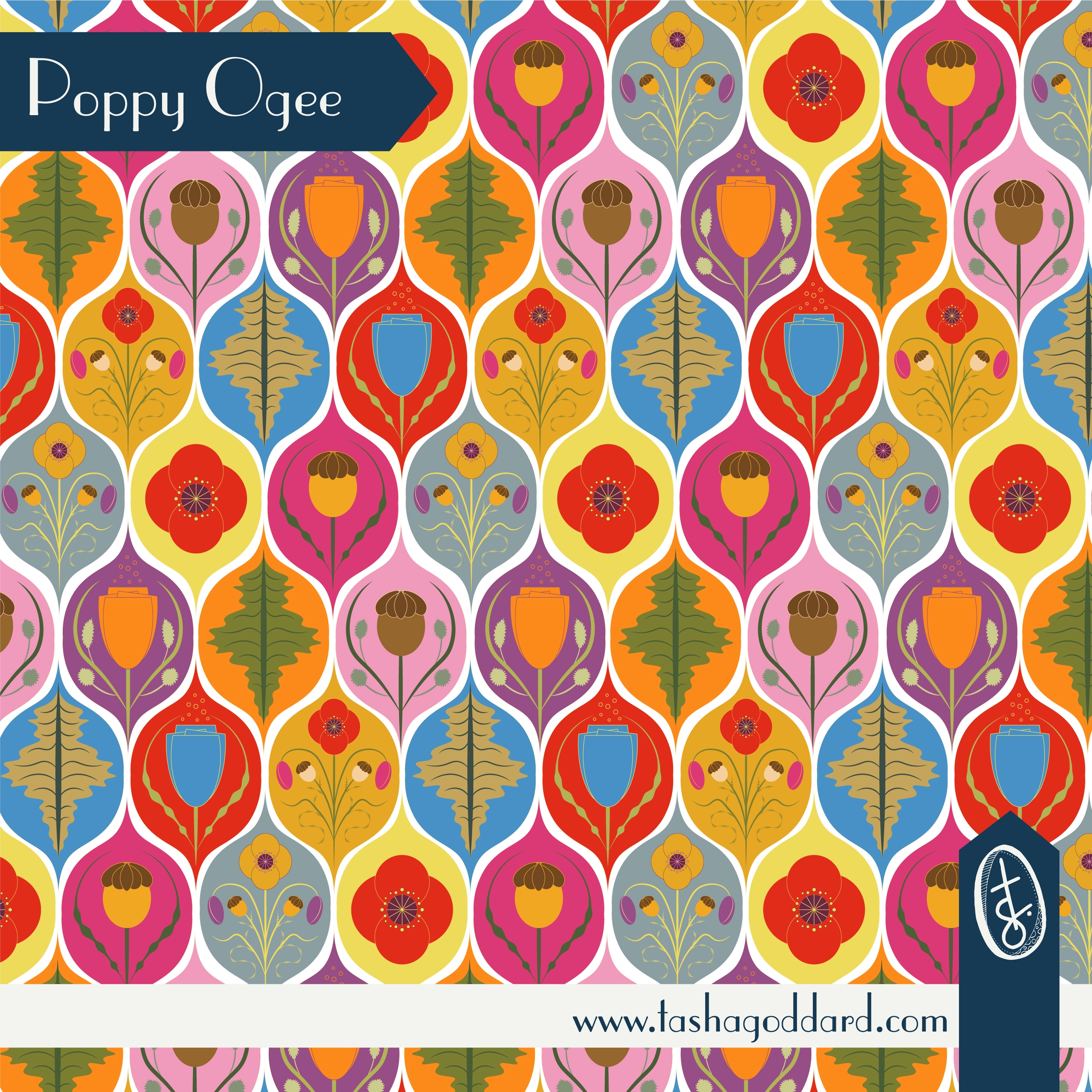 Poppy Ogee - ogee,poppy,floral,pattern - tashagoddard | ello