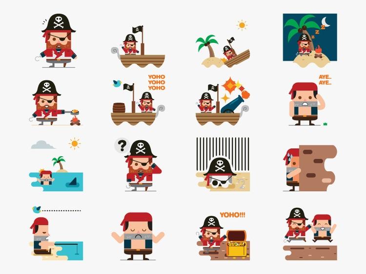 Cute Pirate Sticker Pack - illustration - rockcodile | ello