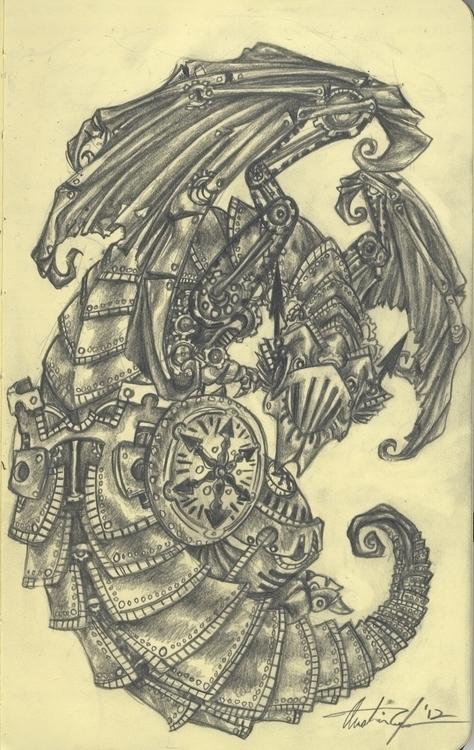 Clockwork Dragon - illustration - hotsprocket | ello