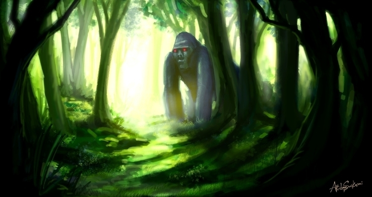 Forest Sentinel - painting, conceptart - woody-2265 | ello