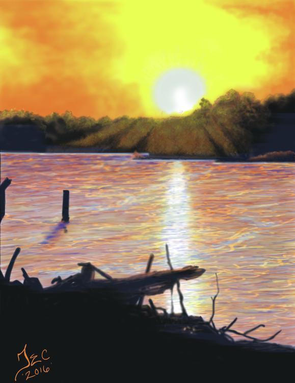 sunset, sunrise, sunshine, illustration - thomasechapman | ello