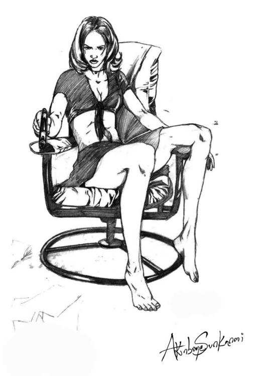 Femme Fatale - illustration, drawing - woody-2265 | ello