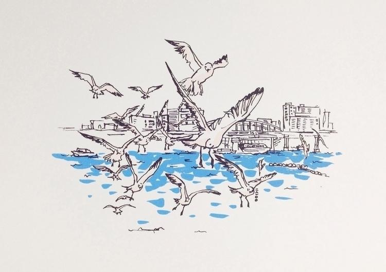 busan. seagull - linedrawing, silkscreen - choi_i | ello