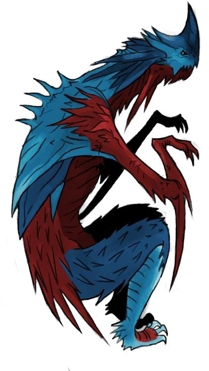 Blue Dragon - drawing, dragon, sketch - siddp | ello