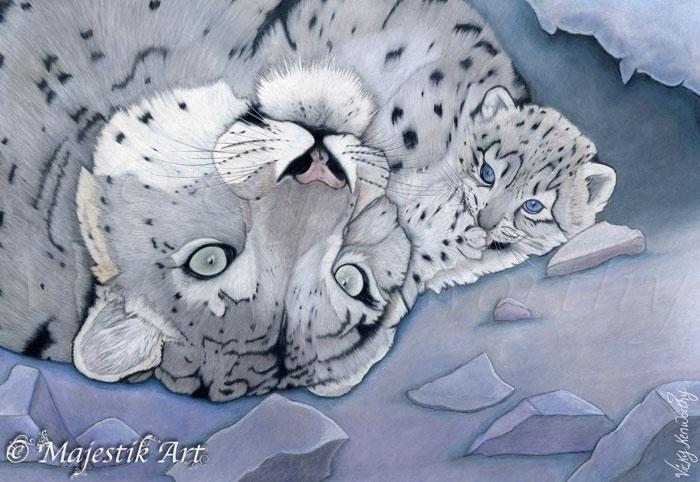 Nurture - snowleopard, Mother, Cub - majestikart | ello
