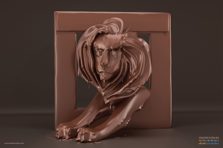 Choco lion - #illustration#Anshul#Dabral#3d#3dsmax#illustration#digitalart#design#characterdesign#photoshop#painting#davisvrworks#drawing#conceptart#liquid#liquid3d#delhi#india#liquidsimulation#advertising#vray - anshuldabral | ello
