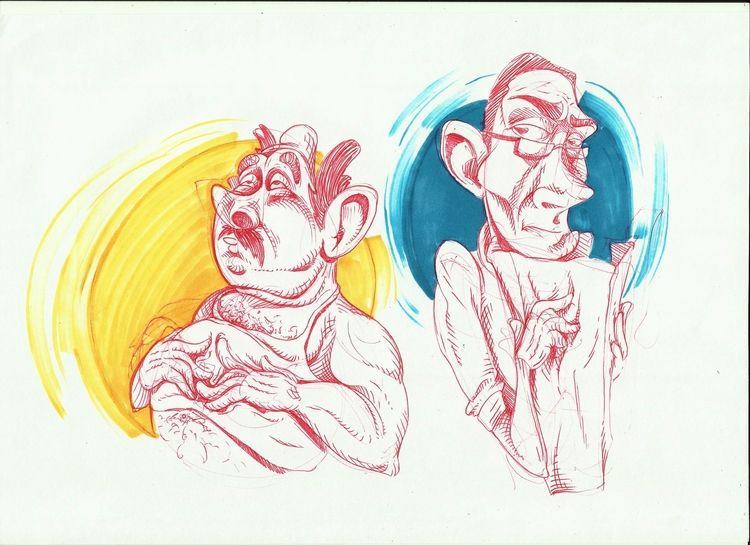 problem - red, ink, ballpoint, dudes - kaiman-6057 | ello
