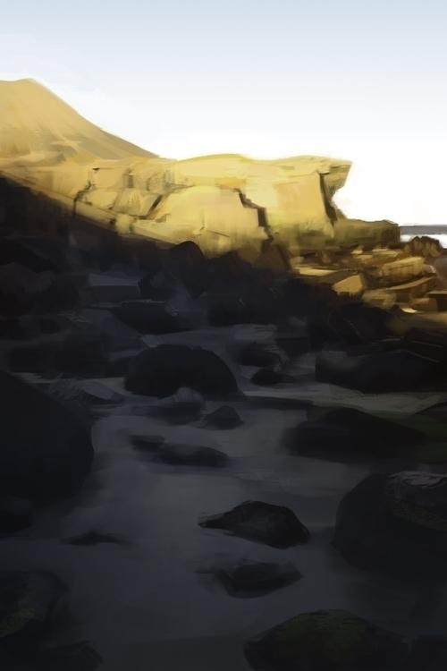 beach, sunset, digitalpainting - nickadrian | ello