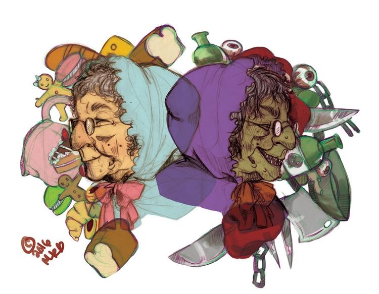 sweet Evil Granny - illustration - peppermintmime | ello