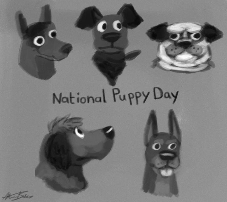 National Puppy day - illustration - alexjohnston | ello