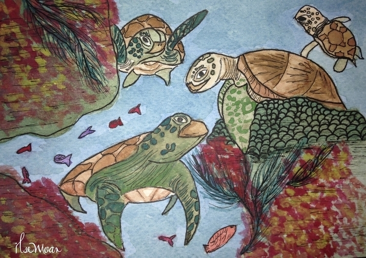 SEA TURTLES - illustration, painting - ilsemoar | ello