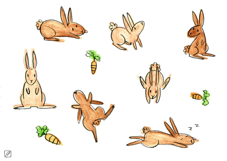 illustration, painting, rabbits - pencilboxillustration | ello