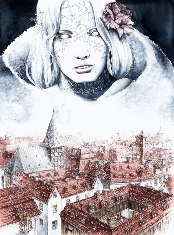 Snow Queen Ink Watercolors - illustration - grimdream   ello