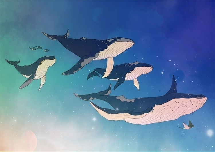 Flying Whales - illustration, whales - elia | ello