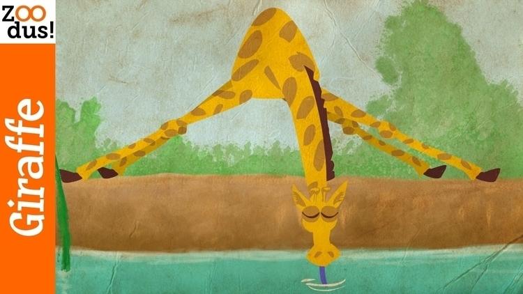 Giraffe drinks. animation - animationart - stayf | ello
