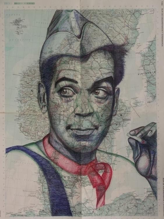 Mario Moreno - cantinflas, drawing - el_compy   ello