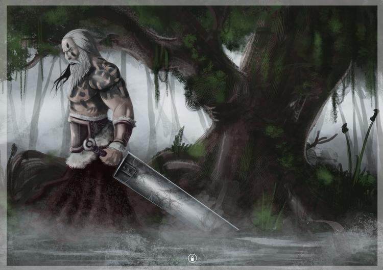 Swampy warrior - illustration, painting - bryanmahy | ello