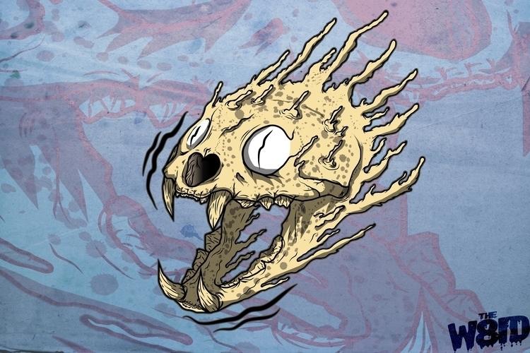 Cat skull - draw, drawing, illustration - w8id | ello