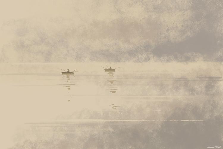 Fishing - illustration, painting - ziiart | ello