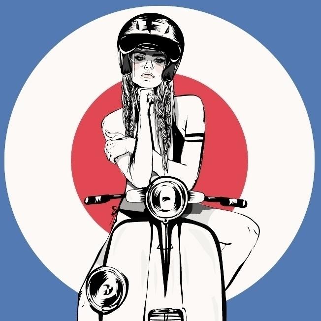 Vespa Girl - vespa, motorbike, drawing - monicarrero | ello