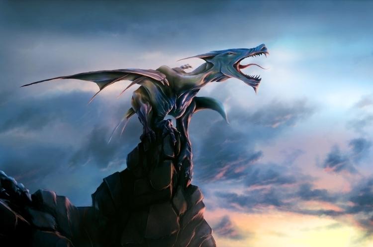 Dragon waking sunrise. Created  - pablocazorla | ello