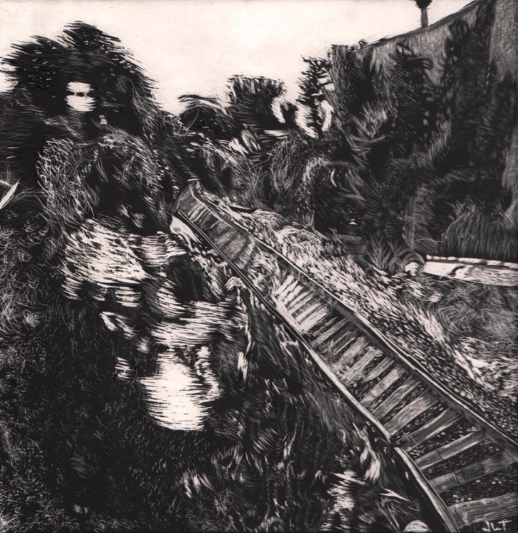 Railroad - illustration, scratchboard - jtiedemann | ello
