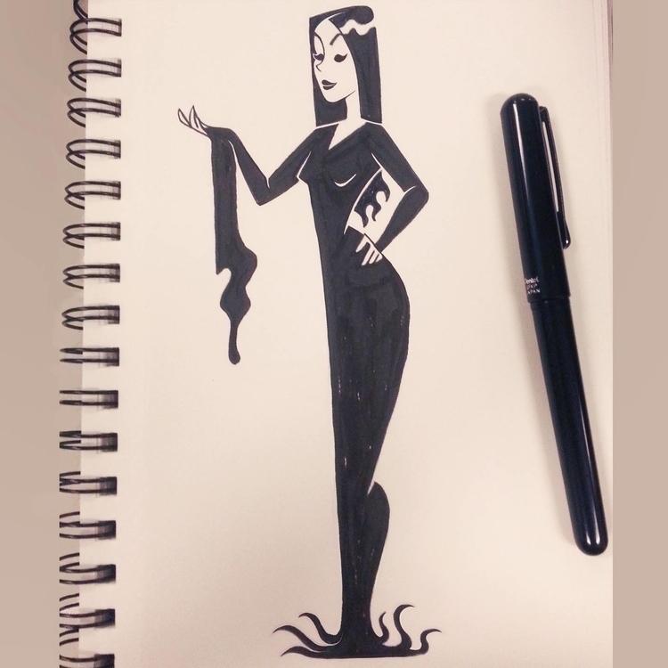 Morticia Addams - inktober, ink - ashleyodell | ello