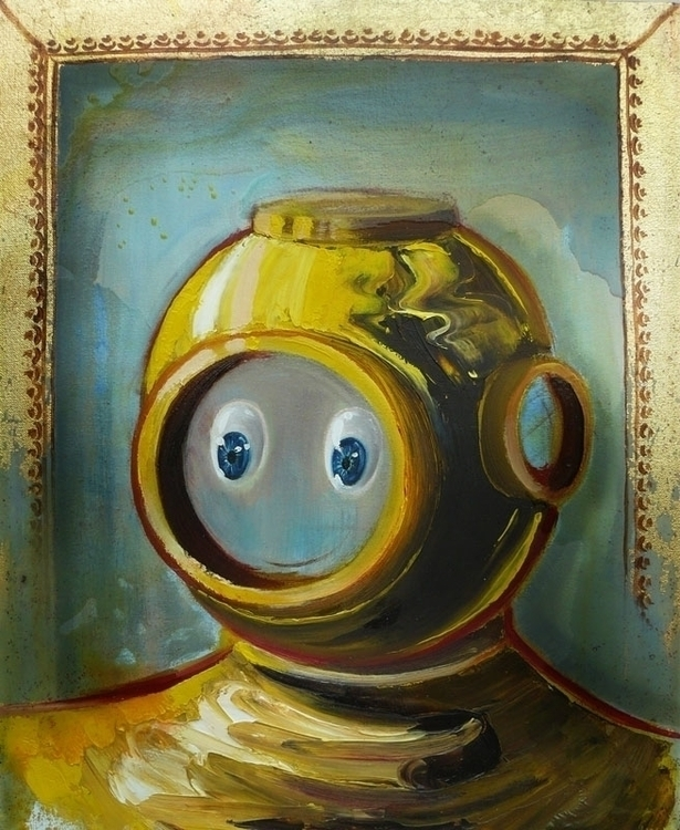 Diver, oil, varnish canvas, 55x - lyube | ello