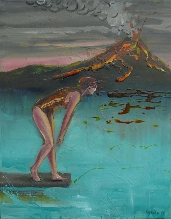 volcano,70x54cm, oil, varnish c - lyube   ello