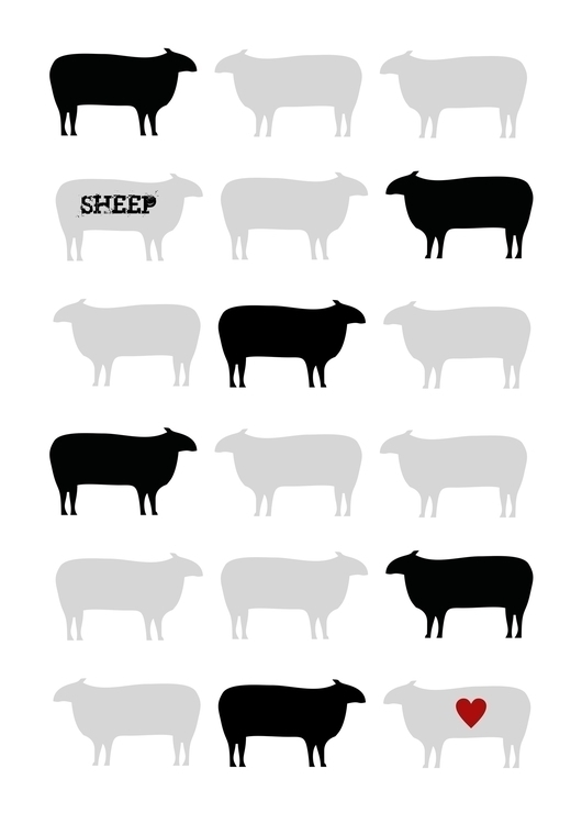 Sheep love Graphic print - illustration - simonebonnett | ello
