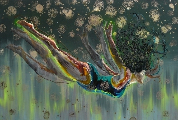 Free Diver, oil,acryl, varnish - lyube | ello